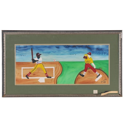 James C. Litz Baseball Genre Watercolor and Gouache Folk Painting, 1993