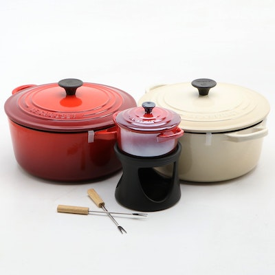 Le Creuset Cerise and Almond Dutch Ovens with Individual Fondue Set