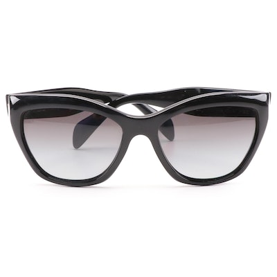Prada SPR 02Q Black Cat Eye Polarized Sunglasses with Case