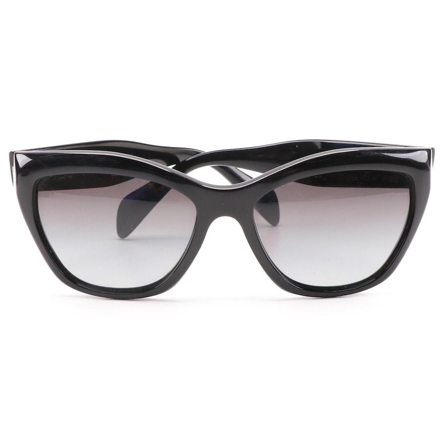 Prada SPR 02Q Black Cat Eye Polarized Sunglasses with Case