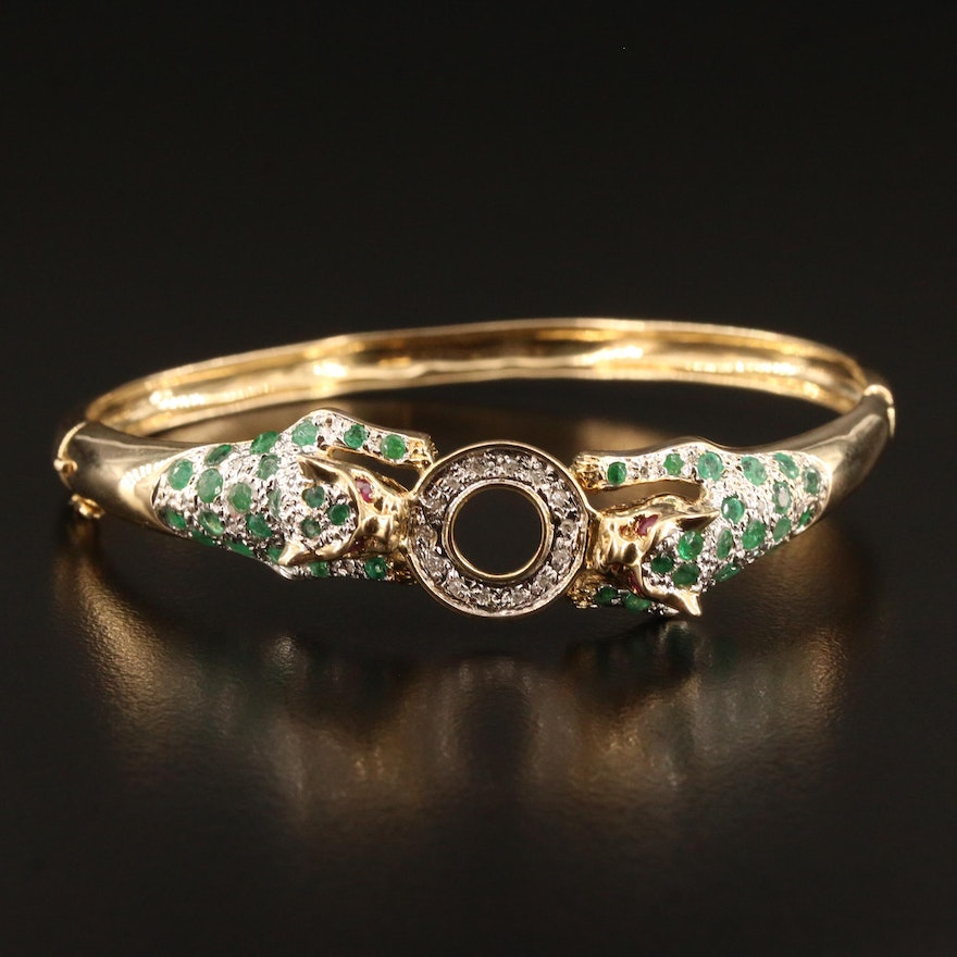 14K Emerald, Ruby and Diamond Hinged Bangle with Double Leopard Motif