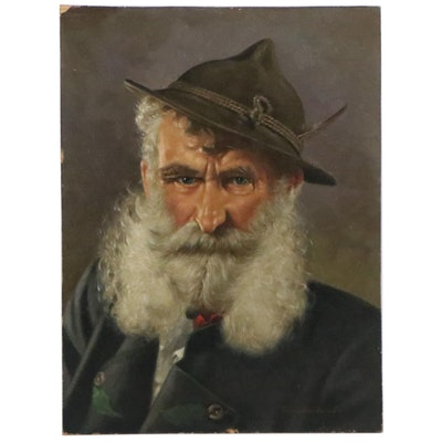 Oil Painting Portrait of a Bavarian Man, Mid-20th Century
