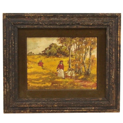 "Gracielo Corzo Oil Painting ""In The Field,"" Late 20th Century"