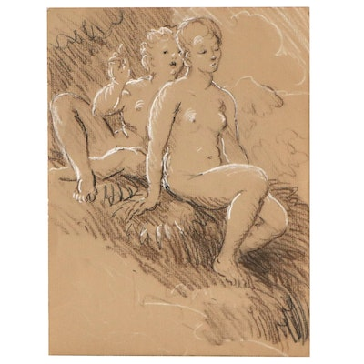 Pastel Drawing of Figural Studies, Late 20th Century