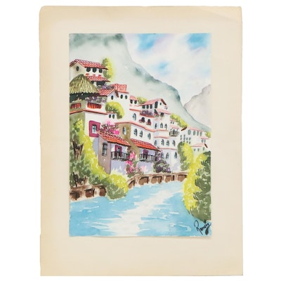 Canal Scene Watercolor Painting with Hillside Village