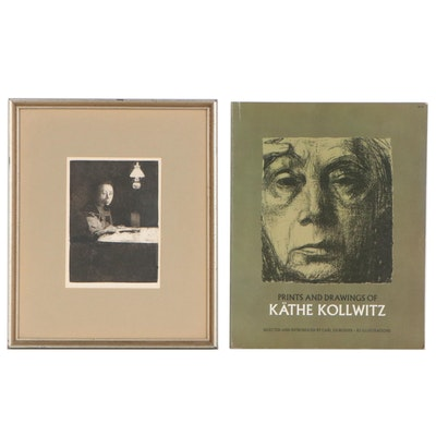 """Käthe Kollwitz Restrike Etching """"Self-Portrait at the Table"""" with Book"""
