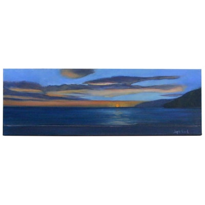 Jay Wilford Ocean Sunset Oil Painting, 21st Century