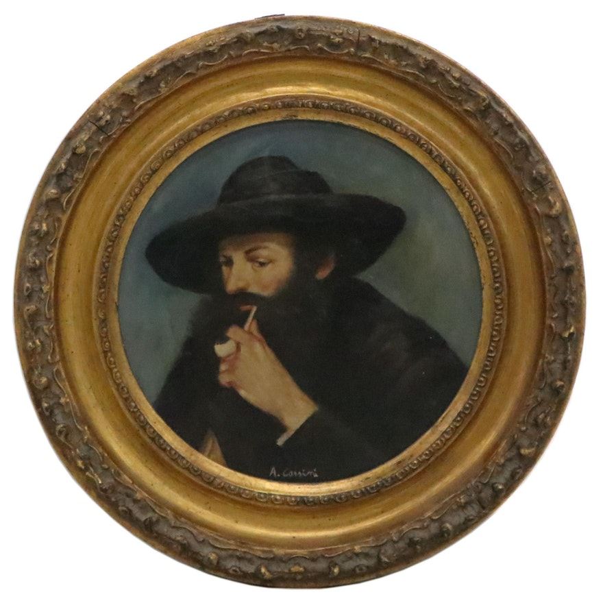 Dutch Style Oil Portrait of Man with Pipe, 19th Century