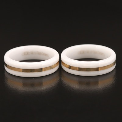 Ceramic Bands with 14K Inlay