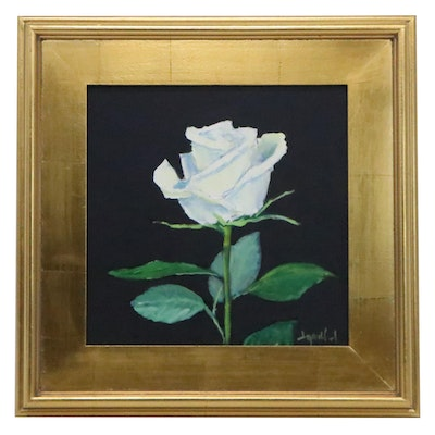 """Jay Wilford Oil Painting """"White Rose,"""" 21st Century"""