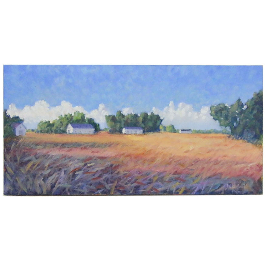 Jay Wilford Farm Landscape Oil Painting, 21st Century
