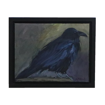 Jay Wilford Oil Painting of Crow, 21st Century