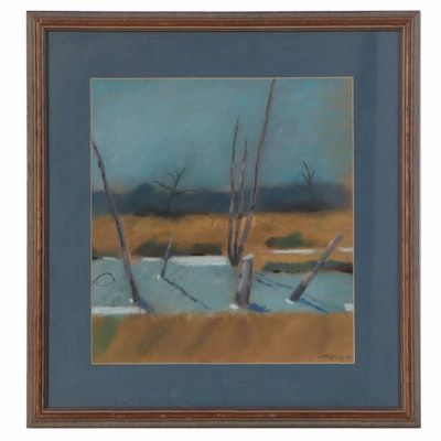 Patrick McCay Pastel Landscape Drawing, Late 20th Century
