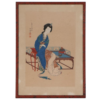 "Woodblock after Genki's ""Chinese Beauty,"" 20th Century"