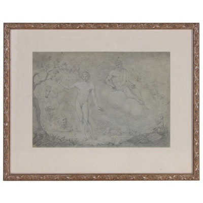 British Neoclassical Embellished Graphite Drawing, 19th Century