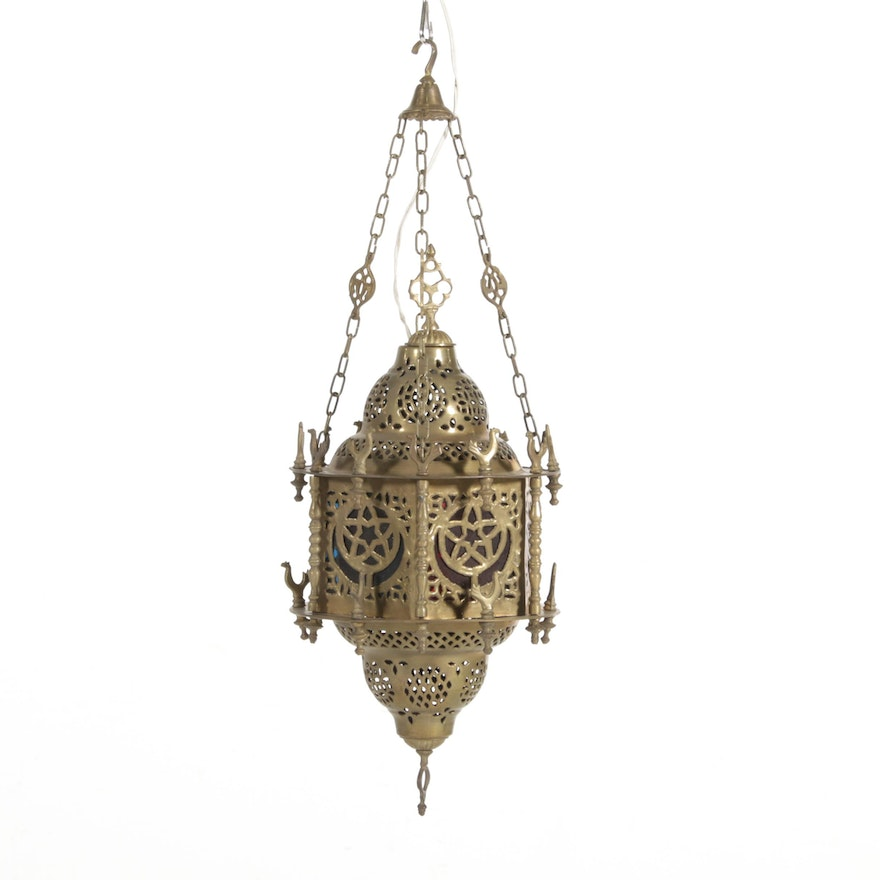 Electrified Persian Brass Hanging Lantern, Vintage
