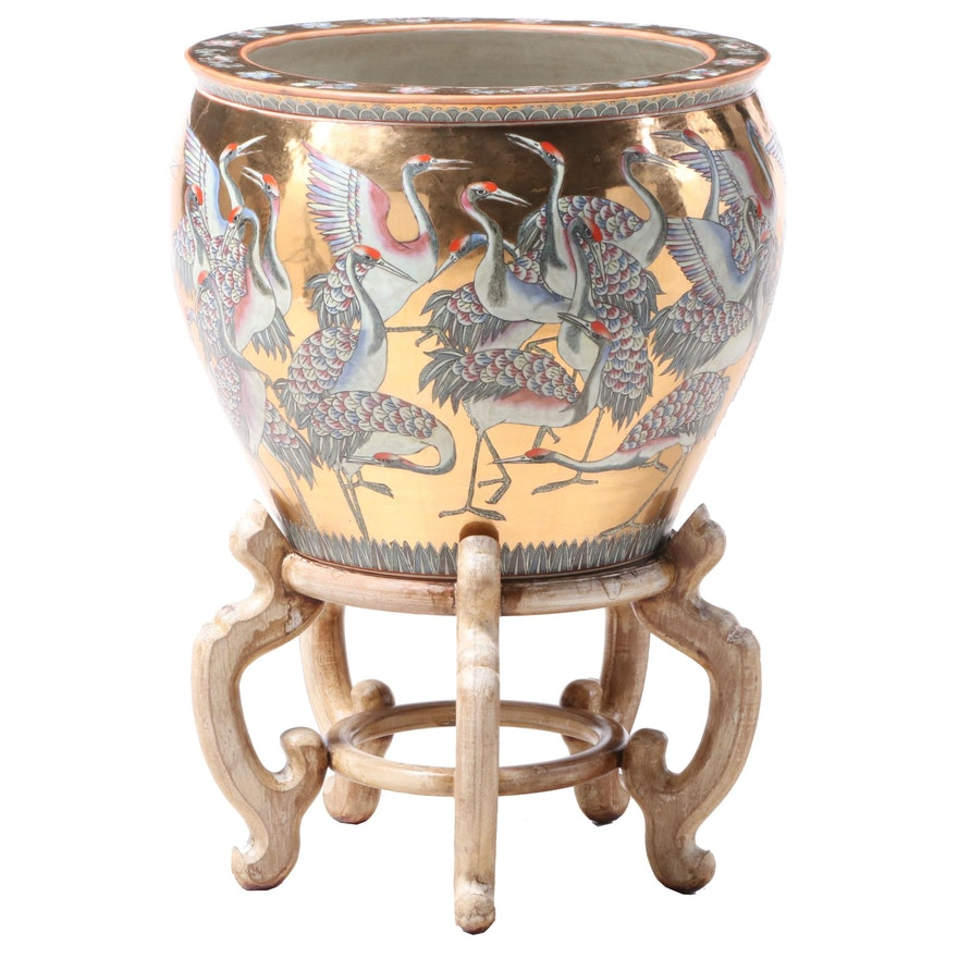 Chinese Crested Crane and Gilt Ceramic Fishbowl Planter, with Stand, Late 20th C