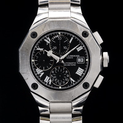 "Baume & Mercier ""Riviera"" Chronograph Stainless Steel Wristwatch"