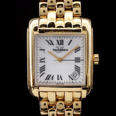 18K Gold  Tavannes with Date Quartz Wristwatch