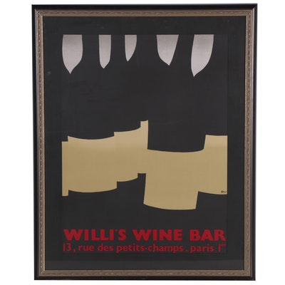 "Serigraph Poster after Alberto Bali ""Willi's Wine Bar,"" 1984"