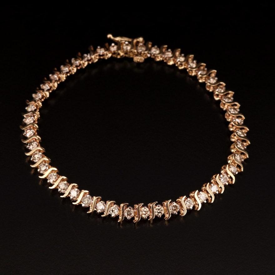 10K 2.40 CTW Diamond Line Bracelet