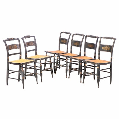 "Six Ebonized and Gilt-Stenciled ""Fancy"" Side Chairs, Including L. Hitchcock"
