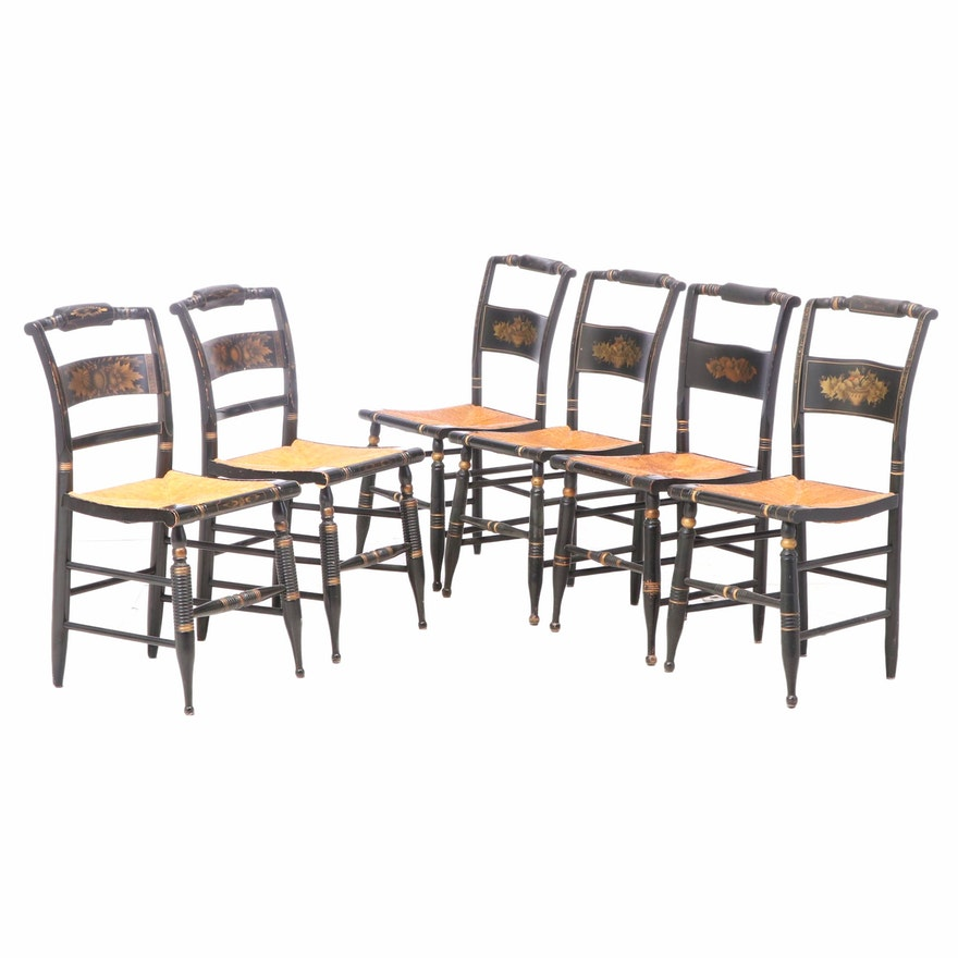 """Six Ebonized and Gilt-Stenciled """"Fancy"""" Side Chairs, Including L. Hitchcock"""