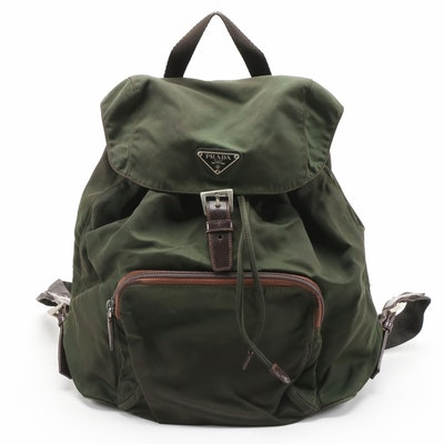 Prada Backpack in Green Nylon with Grosgrain Straps