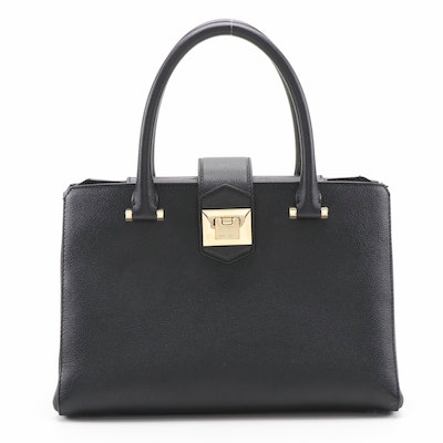 Jimmy Choo Marianne/S Two-Way Top Handle Bag in Black Grained Leather