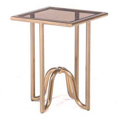 Contemporary Brass-Finish End Table with Glass Top
