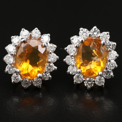 14K Fire Opal and Diamond Halo Button Earrings