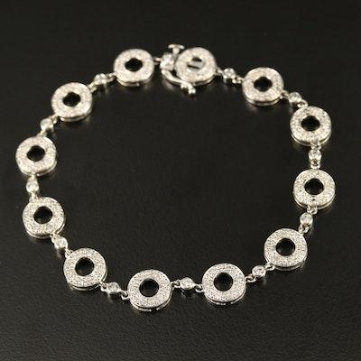 14K Diamond Halo Link Bracelet