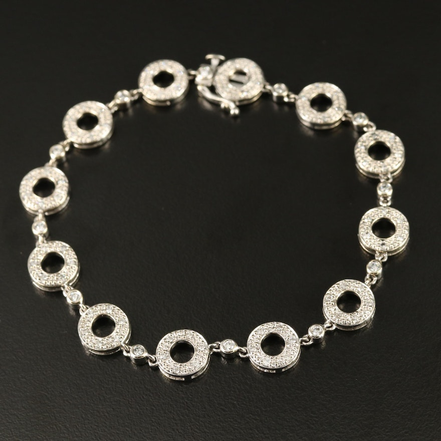 14K Diamond Halo Link Bracelet