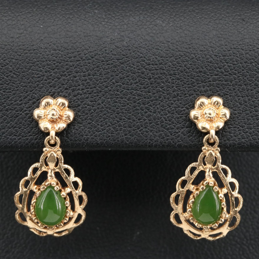 14K Nephrite Dangle Earrings with Scalloped Edges