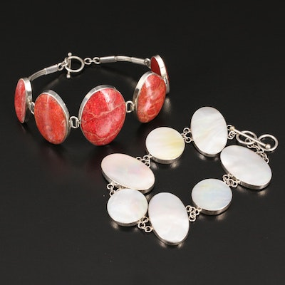 800 Silver Coral and Mother of Pearl Graduated Bracelets
