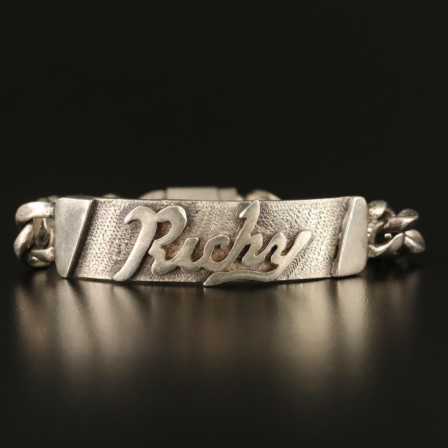 """Sterling Silver """"Ricky"""" ID Curb Link Chain Bracelet"""