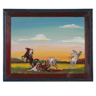 Edward Larson Oil Painting of Cowboy Roundup, 1992