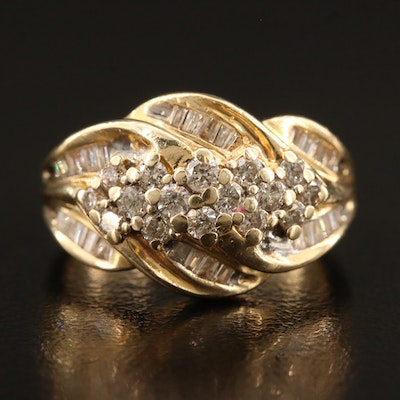 14K Diamond Ring with Ribbon Motif