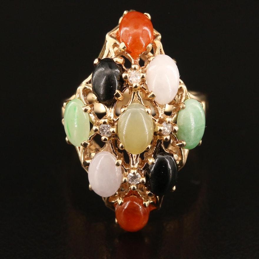 10K Jadeite, Black Onyx and Diamond Cluster Ring