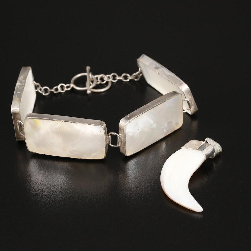 Sterling Mother of Pearl Rectangular Bracelet and Hook Pendant