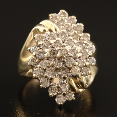 14K 2.50 CTW Diamond Cluster Ring
