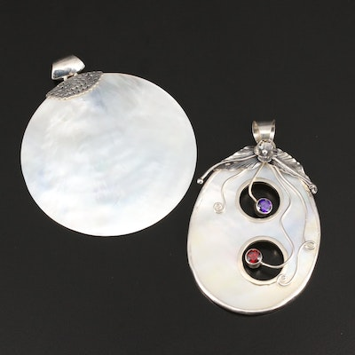 Sterling Silver Mother of Pearl Pendants Featuring Cubic Zirconia Accents