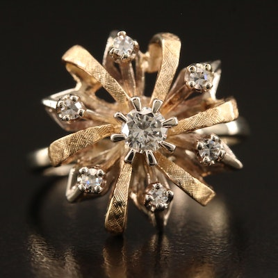 Vintage 14K Diamond Bow Motif Ring with Florentine Finish