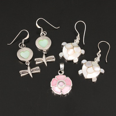 Selection of Sterling Silver Featuring Mother of Pearl Dangle Earrings