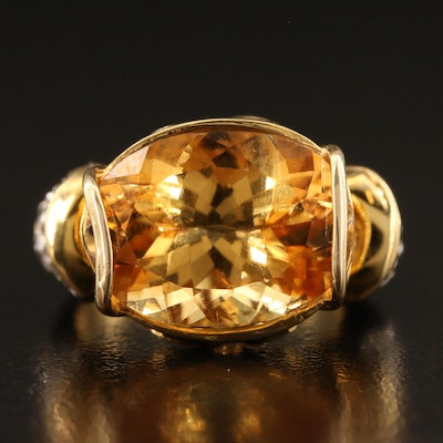 14K Heliodore and Diamond Ring