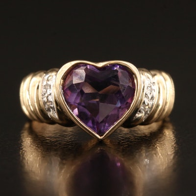 10K Amethyst and Diamond Heart Ring