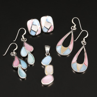 Sterling Mother of Pearl Dangle Earrings and Pendant