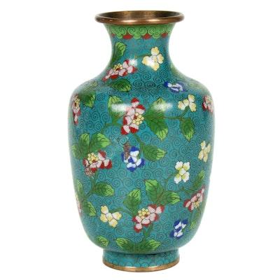 Chinese Floral Cloisonné Vase, 20th Century