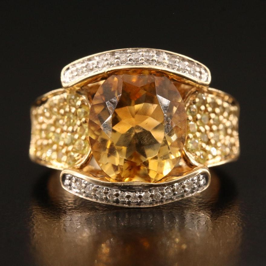 14K Citrine, Sapphire and Diamond Ring