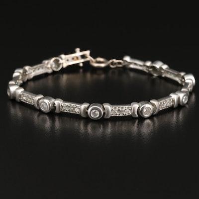 Sterling Cubic Zirconia Bar Link Bracelet